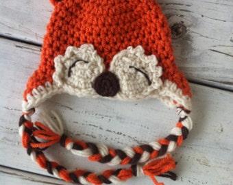 Little fox crchet baby hat - burnt orange