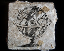 """Armillary sphere coasters -  Real leaf leaf tumbled stone plaques measuring 4"""" x 4"""". Set of 4"""