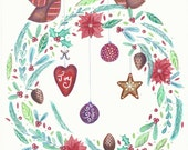 Christmas Wreath with Stripey Robin's