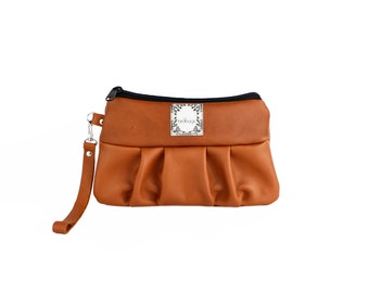 "Cognac Leather Wristlet, Convertible Wallet, Birdbags ""Kelly Wren"" Clutch Handbag"