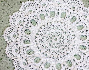 "WHITE CROCHET DOILY Round 28 cm / 11"". Crocheted Doily."