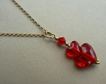 Valentine OOAK Retro style 14ct yellow gold filled Siam Red Swarovski crystal heart pendant