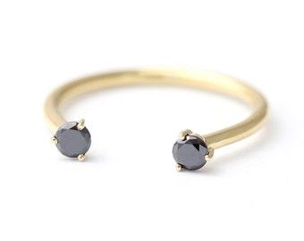 Black Diamond Wedding Ring, Dual Stone Ring, Open Ring, Gold Horseshoe Ring, Black Diamond Ring, Diamond Horseshoe Ring, Lucky Ring