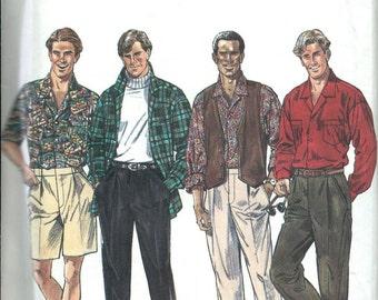 Simplicity 8679 Men's Pants or Shorts, Shirt and Lined Vest Pattern, 38-44, UNCUT