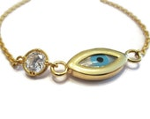 Evil Eye Bracelet with CZ Stone