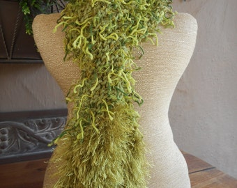 Hand Knit Scarf, Hand Knit Skinny Scarf, Scarves,Art Scarves, Green, Green Scarf