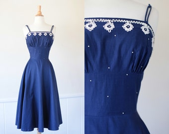 Vintage 1940's 1950's 40s 50s Navy Blue Cotton Day Dress Full Skirt Strapless XS Small Extra Small