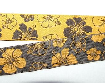 "reversible ribbon Hibiscus Hawaiiflower orange/brown 13/16"""
