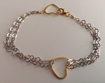 Sterling Silver, Gold Heart Bracelet
