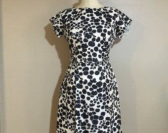 60s wiggle dress with mod black and white floral print