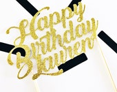 Custom Happy Birthday Glitter Cake Topper/Name Cake Topper/Glitter Script Cake Topper/21st Birthday/30th Birthday