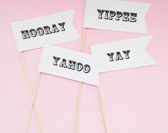 25 Carnival Yay Flags/wedding decor/just married/party flags/hooray/yippee/celebration flags/paper flags/yahoo/wedding flags