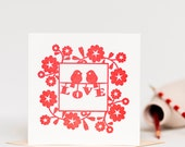 Red Love Birds Letterpress Anniversary or Wedding Card