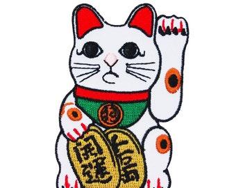 Lucky Cat Maneki-Neko Patch Good Fortune Chinese Japanese Asian Iron-On Applique