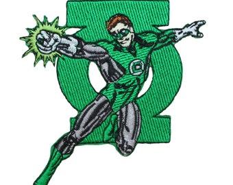 Green Lantern Superhero & Ring Logo DC Comic Book Fan Iron-On Applique Patch