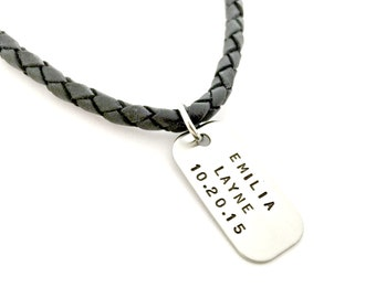 Personalized Mens Necklace - Custom Hand Stamped Mini Dog Tag - Braided Leather Cord Necklace for Daddy, Husband, Anniversary, New Dad Gift