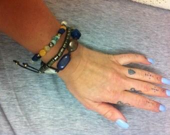 beaded triple bracelet