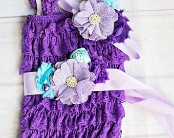 Mermaid Birthday Outfit...Purple Under the Sea Birthday Outfit..Baby Lace Romper ..Cake Smash Outfit.. Aqua Lavender Purple Lace Romper