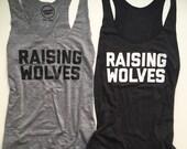 Raising Wolves - Womens Tank Top - Adult Tank - Grey Vintage Feel Womens Tank - Black Tank Top - Wolf