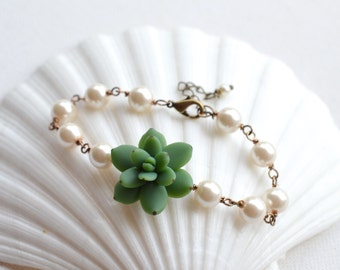 Green Succulent Bracelet , Succulent Jewelry, Succulent wedding theme jewelry, Green Succulent