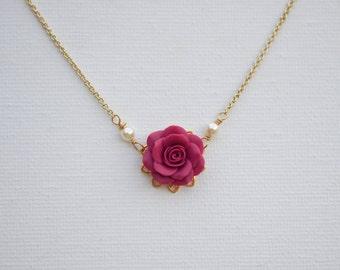 Delicate Magenta Rose Necklace. Bradley Delicate Necklace in Magenta Rose
