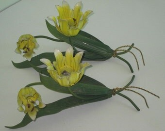 Pair Vintage Yellow Flower Metal Tole Candle Holders