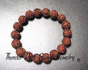 Topaz Shamballa Beads Bracelet Stretch Pave Sparkly Beaded Disco Ball Bling Crystals