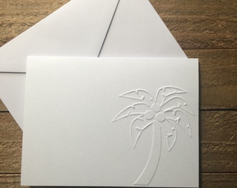 Palm Tree White Embossed Note Cards, Palm Tree Stationary, Vacation Tropical Card, Palm Tree Greeting Cards, Blank Note Cards Set