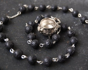 Keeper of the Cauldron Witch's/Witches' Ladder/Prayer Beads/Necklace. Pagan Goddess Ceridwen Druid Dagda Hecate Brigid Wicca Witch Lava.