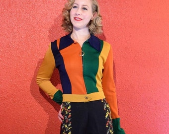 1970s Multicolor Panel Cropped Jacket Poly Knit with zipper