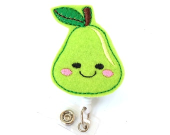 Happy Pear - Dietitian Badge Holder - Cute Badge Reel - Unique Retractable ID Badge Holder - Felt Badge Reel - Dietician Gift - BadgeBlooms