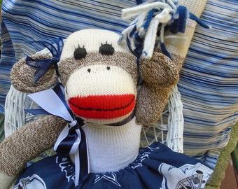 Dallas Cowboys Football Brown Red Heel Sock Monkey Girl Doll/Cheerleader