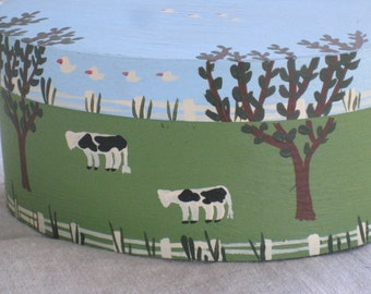 Vintage Hand Painted Oval Band Box With Lid - Balsa Wood - Folk Art Style, with Cows, Trees, Fence - Home Decor, Storage, Display, Country