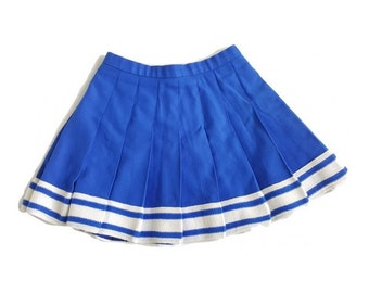 Cheerleader Skirt / Size XS Blue Pleated Cheer Skirt / Made in USA
