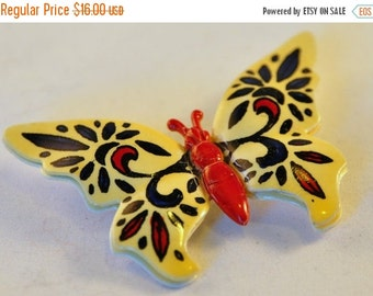 ON SALE Vintage Enamel Folk Butterfly Brooch Hand painted signed West Germany - Gorgeous