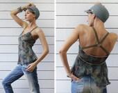 DIESEL Vintage khaki green blue silk chiffon geometric leaf print criss cross strap open back summer blouse top XS