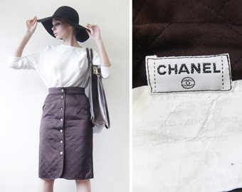 CHANEL vintage chocolate brown quilted silk gold button up knee length high waist pencil midi skirt S