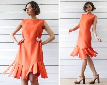 Vintage orange red sleeveless simple evening slashed fringe hem shift midi dress S M