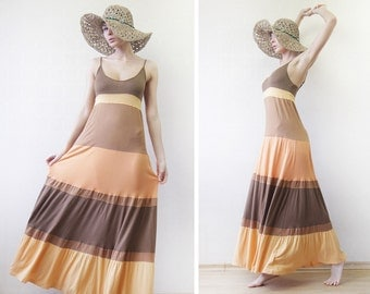 Vintage sunset yellow orange viscose long tiered summer beach maxi dress M