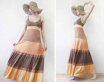 Vintage sunset yellow orange viscose long tiered summer beach maxi dress M