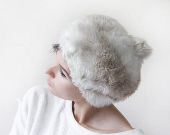 KANGOL Vintage white grey faux fur women pom pom winter beret hat