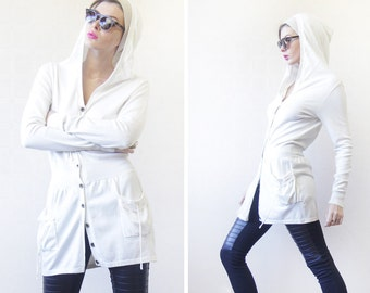 Vintage white cotton knit long sleeve hooded cardigan sweater tunic hoodie top