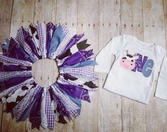 Made to Order - Cow Applique One Shirt & Cowgirl Scrap Tutu - Purple Bandana, Gingham, Denim, Lace - Size 12 months - 1st Birthday Outfit