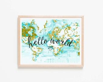 Hello World Aqua Horizontal Nursery Art. Nursery Wall Art. Nursery Prints. Nursery Decor. Boy Wall Art. Adventure Nursery. Map Print.