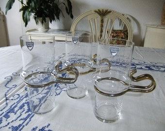 Vintage Swedish Irish coffee glasses in one set of three - Orrefors glassworks - Metal handle