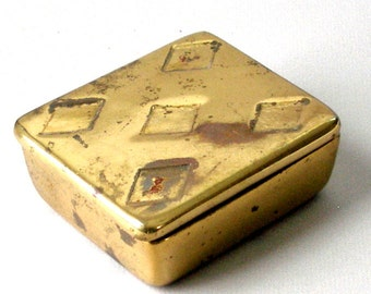 Vintage Ben Seibel jenfred ware Raymor Cigarette Box Brass Finish Five of Diamonds Design Mid Century Retro Eames Era