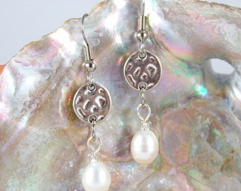 Natural Freshwater Pearl Earrings with Hammered Silver Charms, Surgical Steel Earwires
