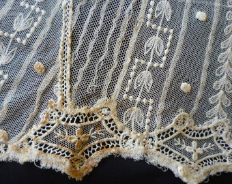 Vintage schiffli embroidered lace dress fragments x 8 vest collar arts and crafts era early 1900 projects