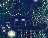 70% Sale Wedding Lights Clip Art - Vector String Lights, Firefly Clipart, Wedding Party Lights, Lantern Lights EPS - Instant Download