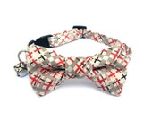 Cat Small Dog Bow Tie Collar, TWEED STYLE, Handmade